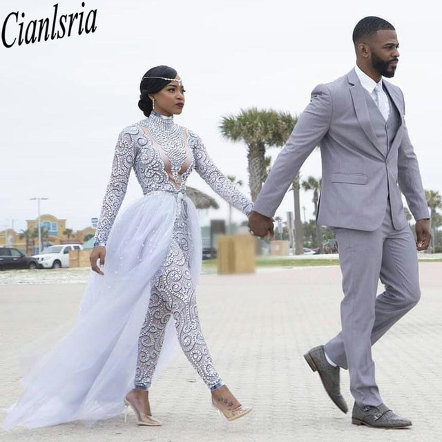 Plus Size 2021 Jumpsuits Wedding Dresses With Detachable Train High Neck Long Sleeves African Beaded Wedding Dress Bridal Gowns 1