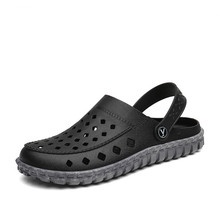 Дышащие мужские летние повседневные сандалии; светильник; пляжные домашние шлепанцы; однотонная мужская водонепроницаемая обувь без застежки; размеры 40-45