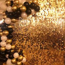 Painéis iridescentes de ouro rosa painel sequin casamento pano de fundo personalizado anunciando canta loja fundo da janela glam shimmer parede de lantejoulas