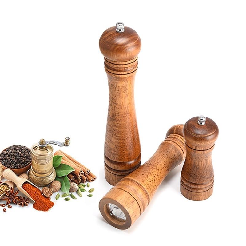 Durable Wooden Oak Pepper Spice Salt Corn Mill Grinder Muller 10 inch