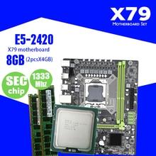 Kllisre X79 набор материнских плат с LGA 1356 E5 2420 C2 2x4GB = 8 Гб 1333 МГц DDR3 память ECC Reg
