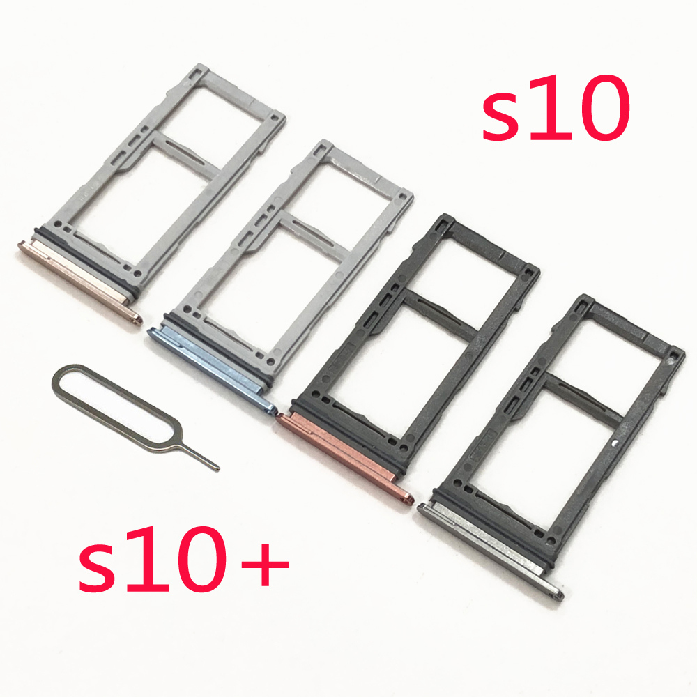 Phone SIM Card Tray For Samsung S10 Plus G975F G973F G973 Galaxy S10+ G975 Original Housing New Micro SD Card Adapter Holder