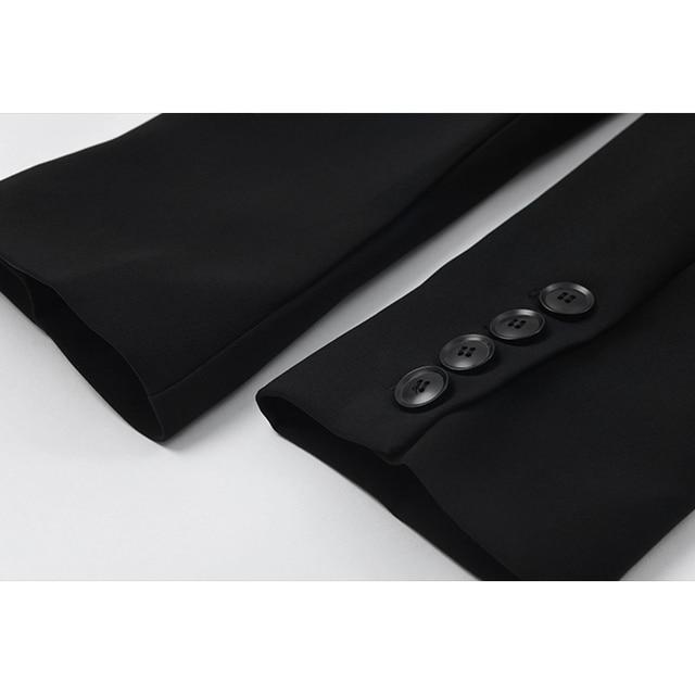 [EAM]  Women Irregular Bandage Spliced Blazer New Lapel Long Sleeve Loose Fit Jacket Fashion Tide Spring Autumn 20211DA710 6