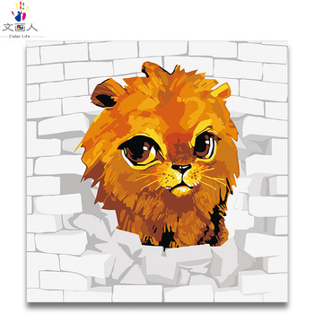 Coloring By Numbers Cute Lion digital Paint By Numbers Cartoon animals oil painting by numbers on canvas painting room decor фото