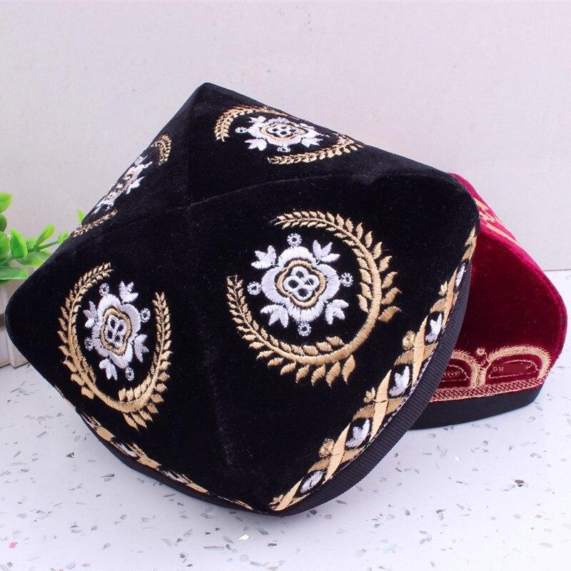 Arab Men's Handmade Embroidered Flat Hat Thick Embroidered Hat Red Blue Black Worship Hat Muslim Prayer Hat
