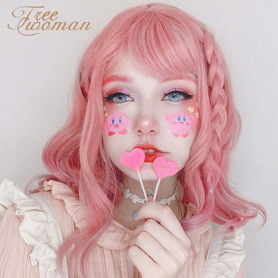 FREEWOMAN Pastel Wavy Wig With Air Bangs Women's Short Bob Pink Wig Curly Wavy Shoulder Length Pastel Bob Synthetic Cosplay Wig