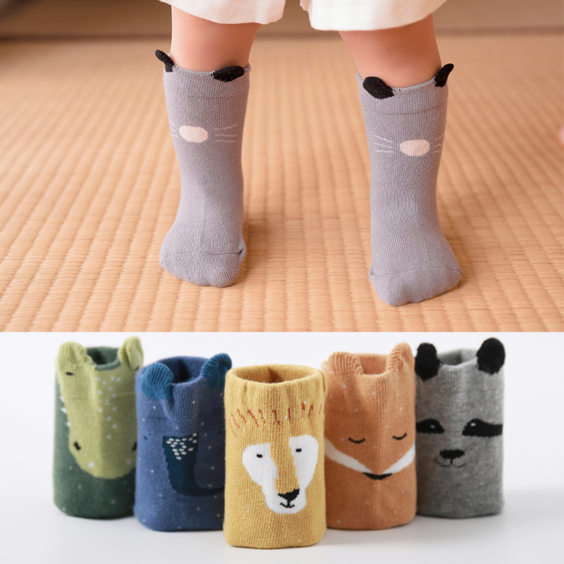Newborn Baby Warm Kids Socks Autumn Winter Cute Toddlers Boys Girls Long Knee High Animals Child Socks 0-2 Yeas