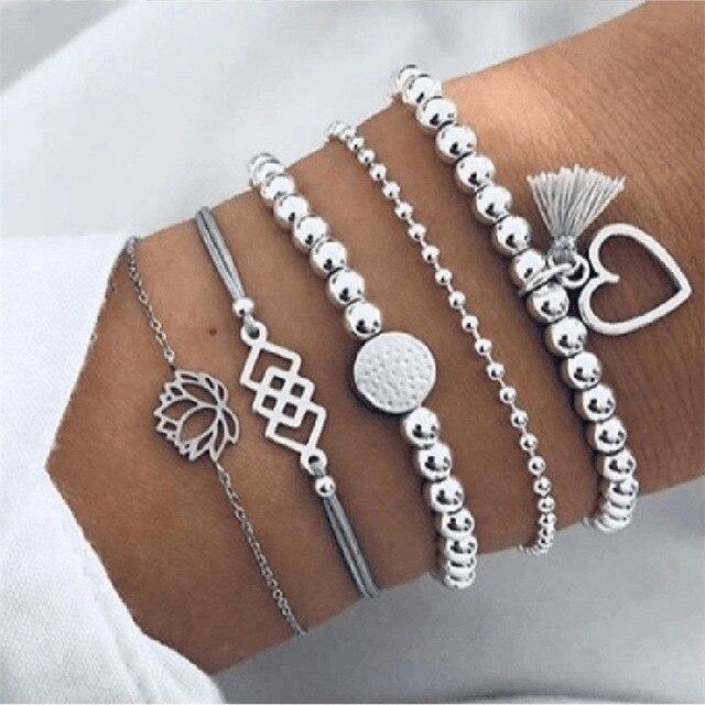Boho Charm Bracelets & Bangles Set For Women Vintage Beaded Bracelet Fashion Multilayer Pulseras Accessories Mujer 2019 Bijoux