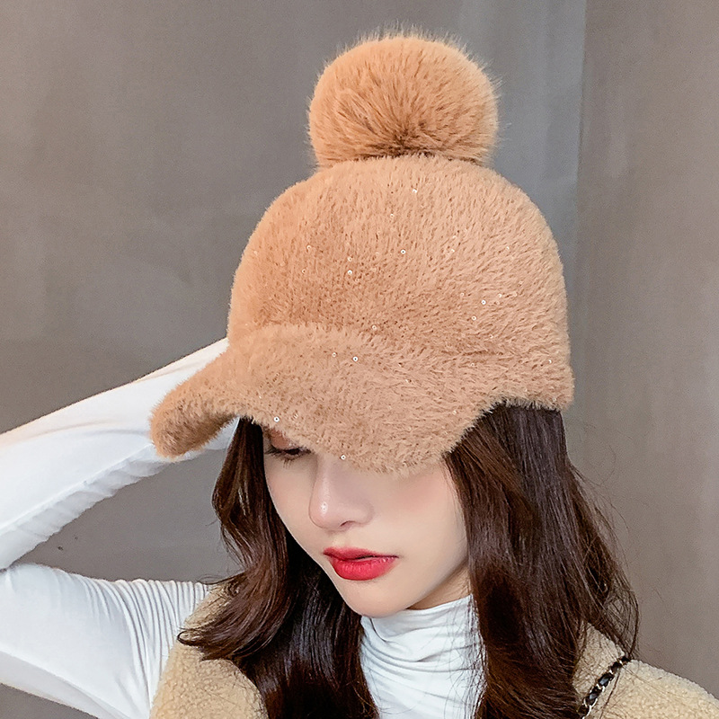 COKK Winter Hat Women Baseball Cap With Pompon Faux Fur Ball Cold Proof Thick Warm Solid Color Fashion Casual Gorras Female New 2