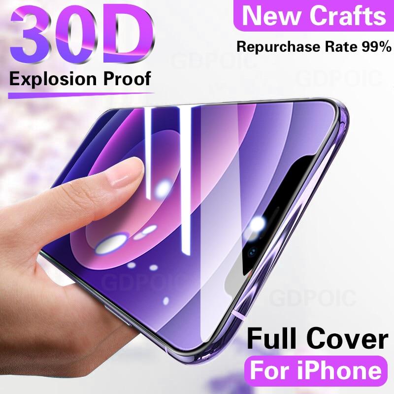 Защитное стекло 30D с полным покрытием для iPhone 12 Pro Max, пленка для экрана, закаленное стекло для iPhone 11 Pro Max, Xs, XR, X, 7, 8, стекло