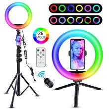 Led anel de luz 10 polegada com tripé telefone bluetooth remoto rgb ringlight gravação vídeo lâmpada fotografia selfie para tiktok