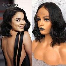 COLODO 12 дюймов короткие парики из человеческих волос бразильский Волосы remy натуральный Цвет 150% Плотность 13x6 Боб Синтетические волосы на кружеве парики для чернокожих Для женщин