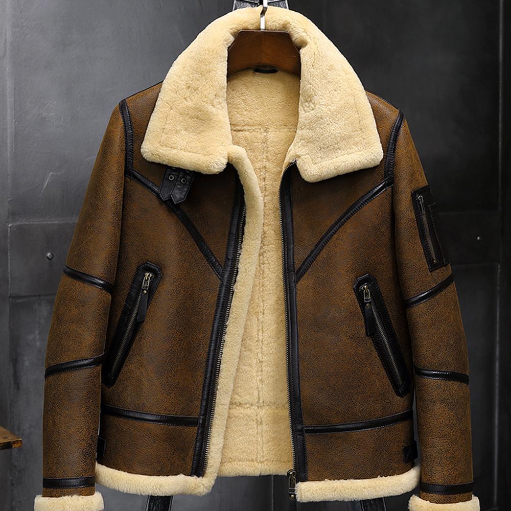 2019 nouveau hommes Shearling veste B3 vol veste en peau de mouton aviateur hiver manteau fourrure Bomber en cuir veste