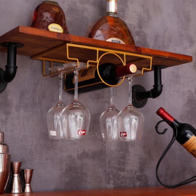 hanging wine bottle rack with wine