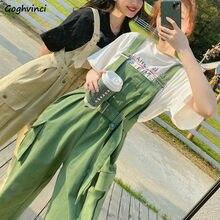 Combinaisons femmes ceintures vert ample jarretelle droite Chic surdimensionné salopette mignon filles Style coréen vacances à la mode mince loisirs