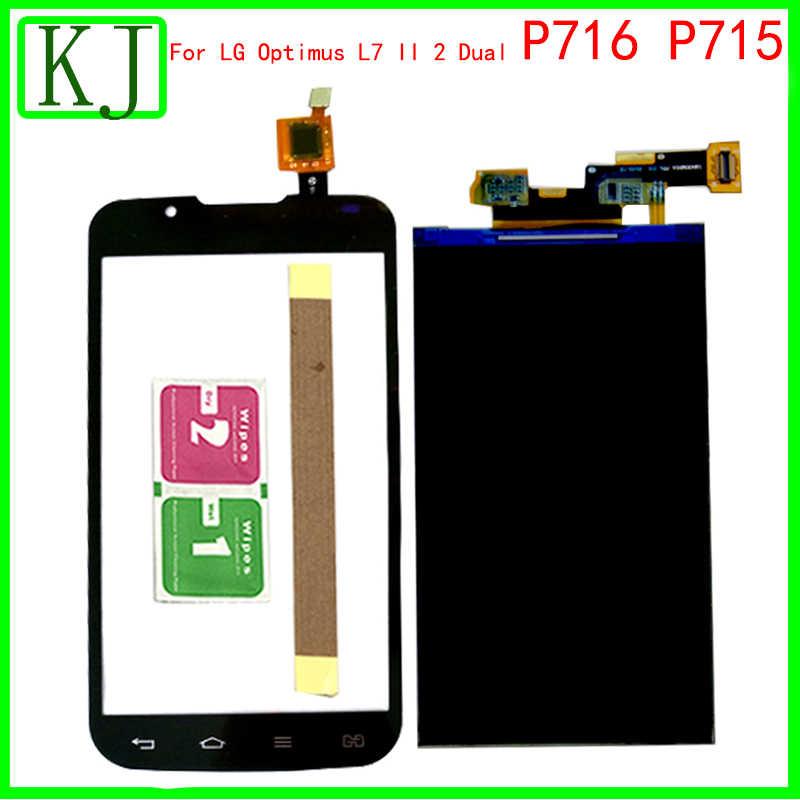 ل LG Optimus L7 II 2 المزدوج P716 P715 شاشة الكريستال السائل محول الأرقام بشاشة تعمل بلمس الاستشعار الزجاج لوحة