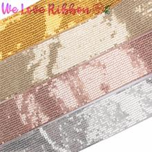"""3""""75mm Shiny Sequin Cutting Ribbon DIY Hair Band Gold White Pink Small Squins Apparel Sewing Fabric Home Textile 25yards/roll"""