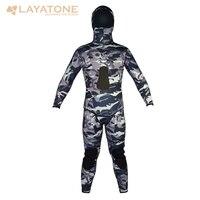 LayaTone 7MM Neoprene Suit Hood Wetsuits Scuba Diving Spearfishing Suit Snorkeling Hunting Suit Winter Swim 2Piece Wet Suit