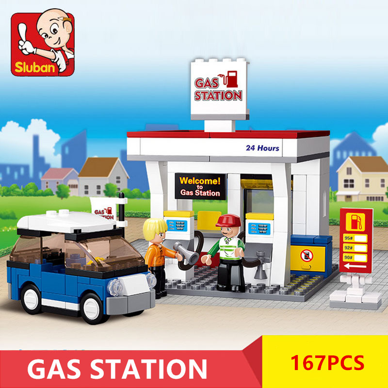167Pcs Gas Station SimCity Car DIY Bricks Model Building Blocks Sets City LegoINGLs Friends Christmas Gifts Toys for Children image