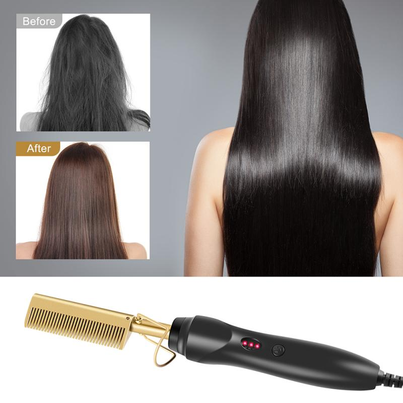 1pcs Multi-functional Wired Hair Straightener Household Electric Safety Hair Curler Fast Warm-up High Heat Retention Copper Comb