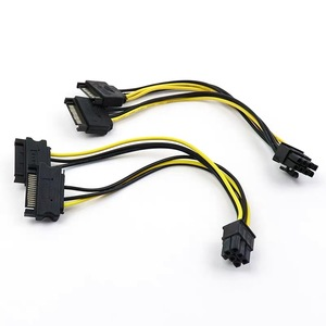 SATA 2x15Pin к видеокарте PCI-e PCIE 6/8 Pin видеокарта кабель питания 6/8pin к двойному Sata Y-разветвитель адаптер 20 см 18AWG