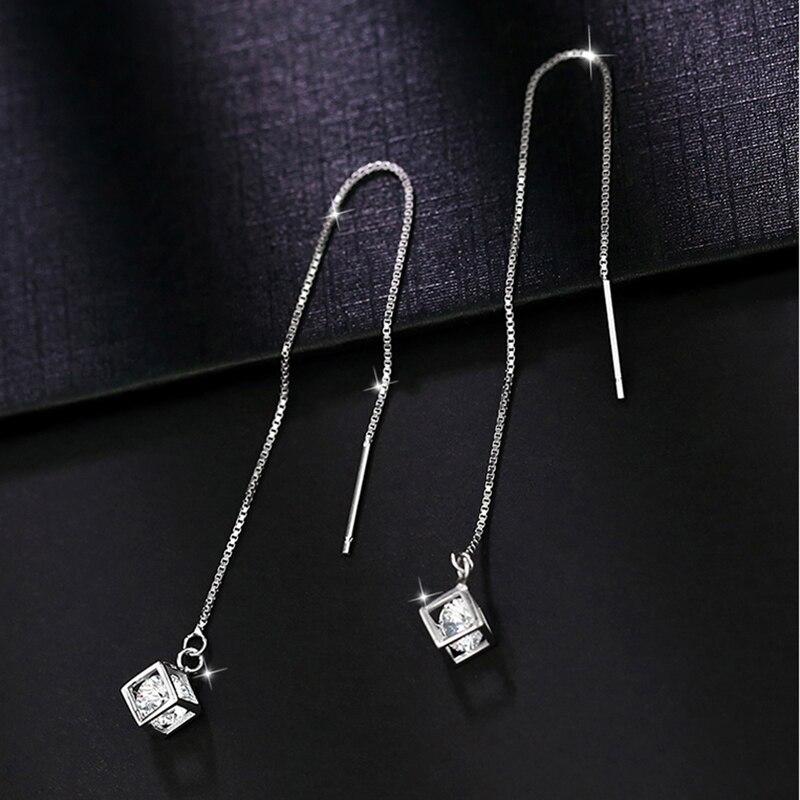 Fashion Beautiful 925 Sterling Silver Earrings Long Female Luxury Switzerland Rhinestone Earrings Cubic Pendant Ear Wire Jewelry