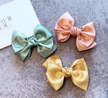 Fashion Ribbon Bow Hair Clip Kid Fairy  Accessories Layer Deluxe Satin Hairpin Birthday Gift Barrette School Girl Headwear