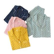 연인 도트 인쇄 잠옷 남성과 여성 봄 새로운 잠옷 세트 편안한 거즈 코튼 연인 느슨한 잠옷 가을 Homewear