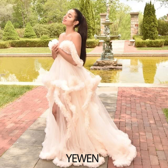 Custom Colors V-neck Photography Dress Ivory Ruffles Wedding Dress Long 2020 Bridal Gowns Plus Size 2