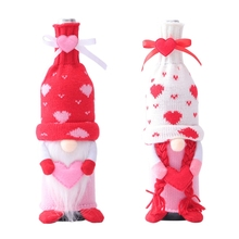Valentine's Day Swedish Gnome Champagne Wine Bottle Cover Bag Family Party Table Decorations Xmas Gifts