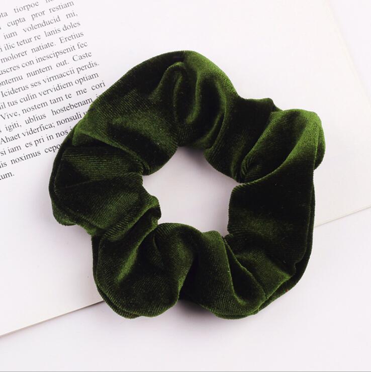 33 цвета, корейские Бархатные резинки для волос, эластичные резинки для волос, одноцветные женские головные уборы для девушек, заколки для волос с конским хвостом, аксессуары для волос - Цвет: Army Green