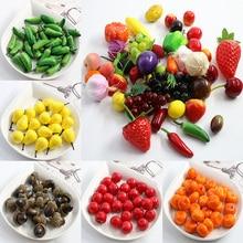 10 pieces small mini Artificial simulation plastic Foam fruit children's toys shooting props fake vegetables Home Decorative
