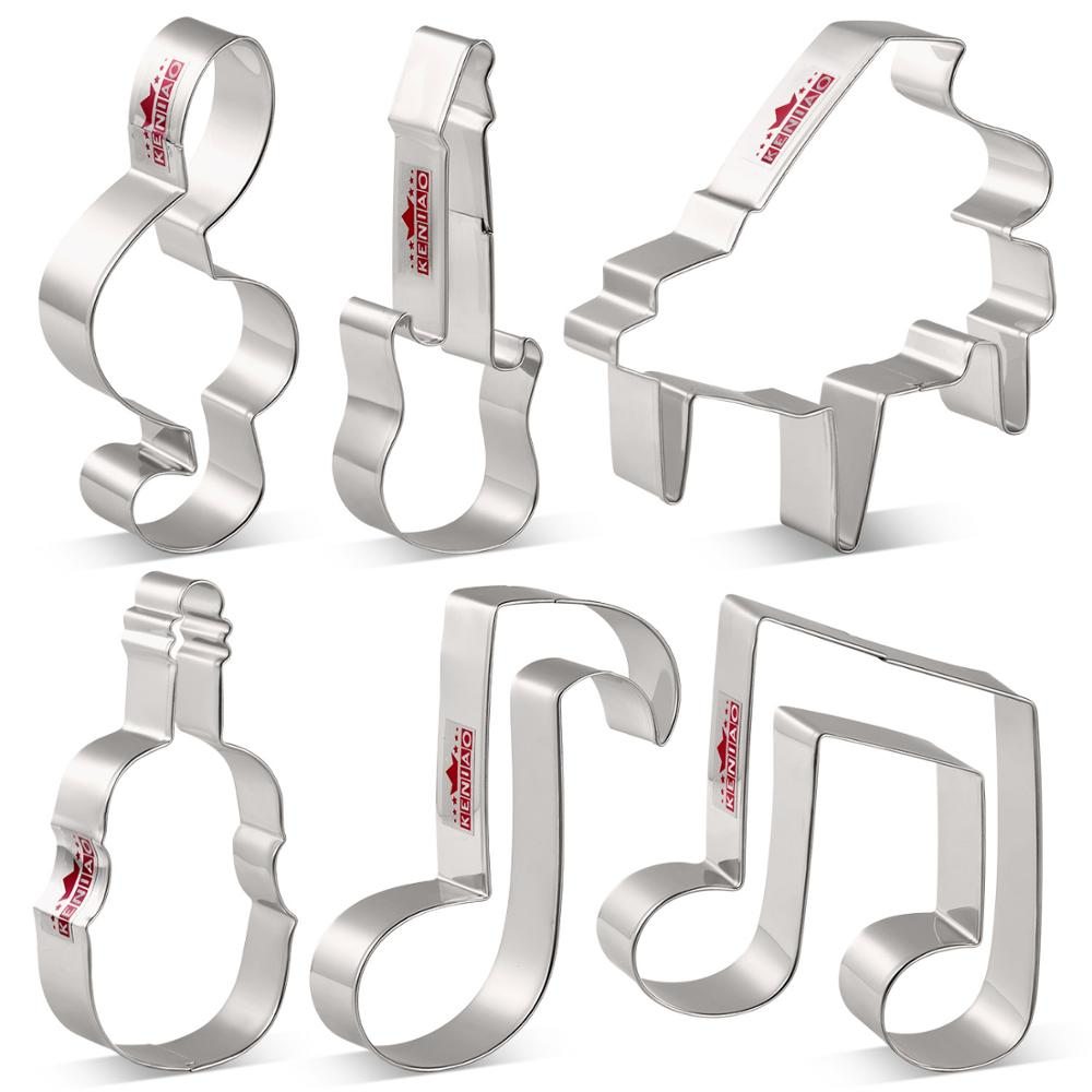 KENIAO Music Cookie Cutter - Violin, Piano, Electric Guitar, Music Note, G Clef Biscuit Fondant Cutters - Stainless Steel