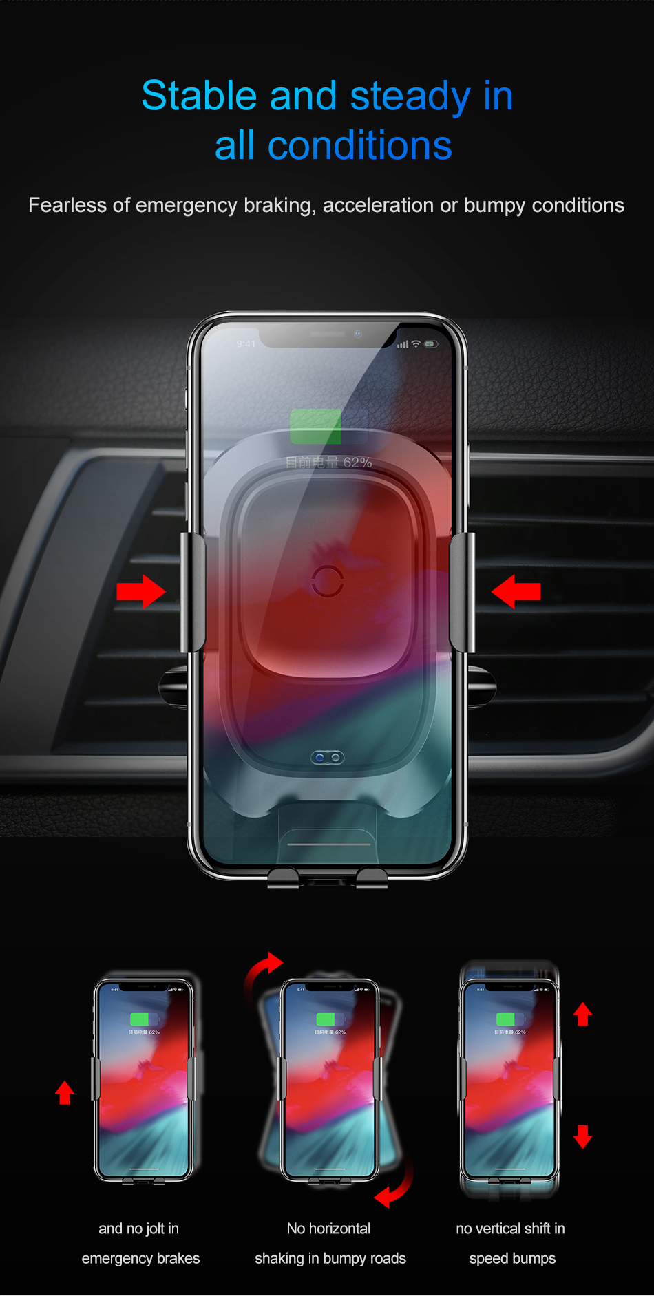Baseus Qi Car Wireless Charger For iPhone Xs Max Xr X Samsung S10 S9 Intelligent Infrared Fast Wirless Charging Car Phone Holder 12