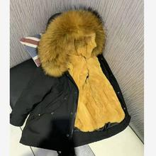 Winter jackets Real Rex Rabbit Fur Coat Nature Fur Collar Hooded Overcoat Warm Parka Kids Jacket baby Boy Girl clothes Y1918