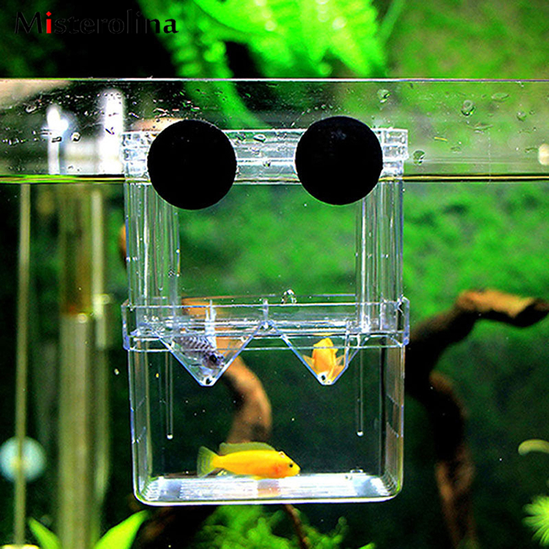 Aquarium Fish Tank Guppy Double Breeding Breeder Rearing Box Hatchery Fish Aquarium Aquaponics Trap Fish Tank Aquarium L2J0