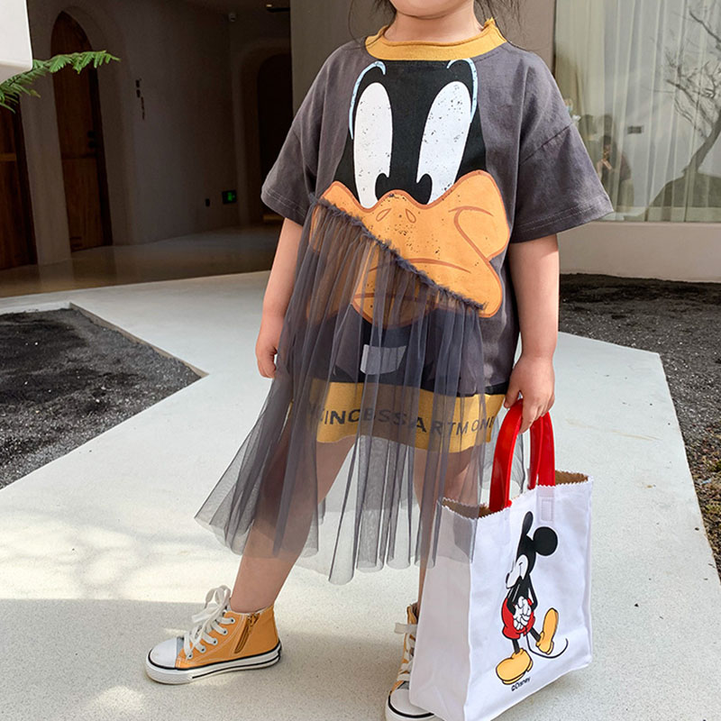 Baby Girl Cute Cartoon Dress Irregular Mesh Round Neck Vestidos Toddler Kids Streetwear Princess Dress 2 To 10 Yrs 2042301S