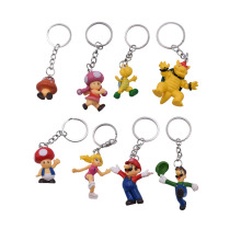 8 Pcs/Lot Anime Super Mario Bros Keychain Peach Donkey Kong Yoshi Luigi Toad PVC Action Figure Doll Collectible Model Toy цена 2017