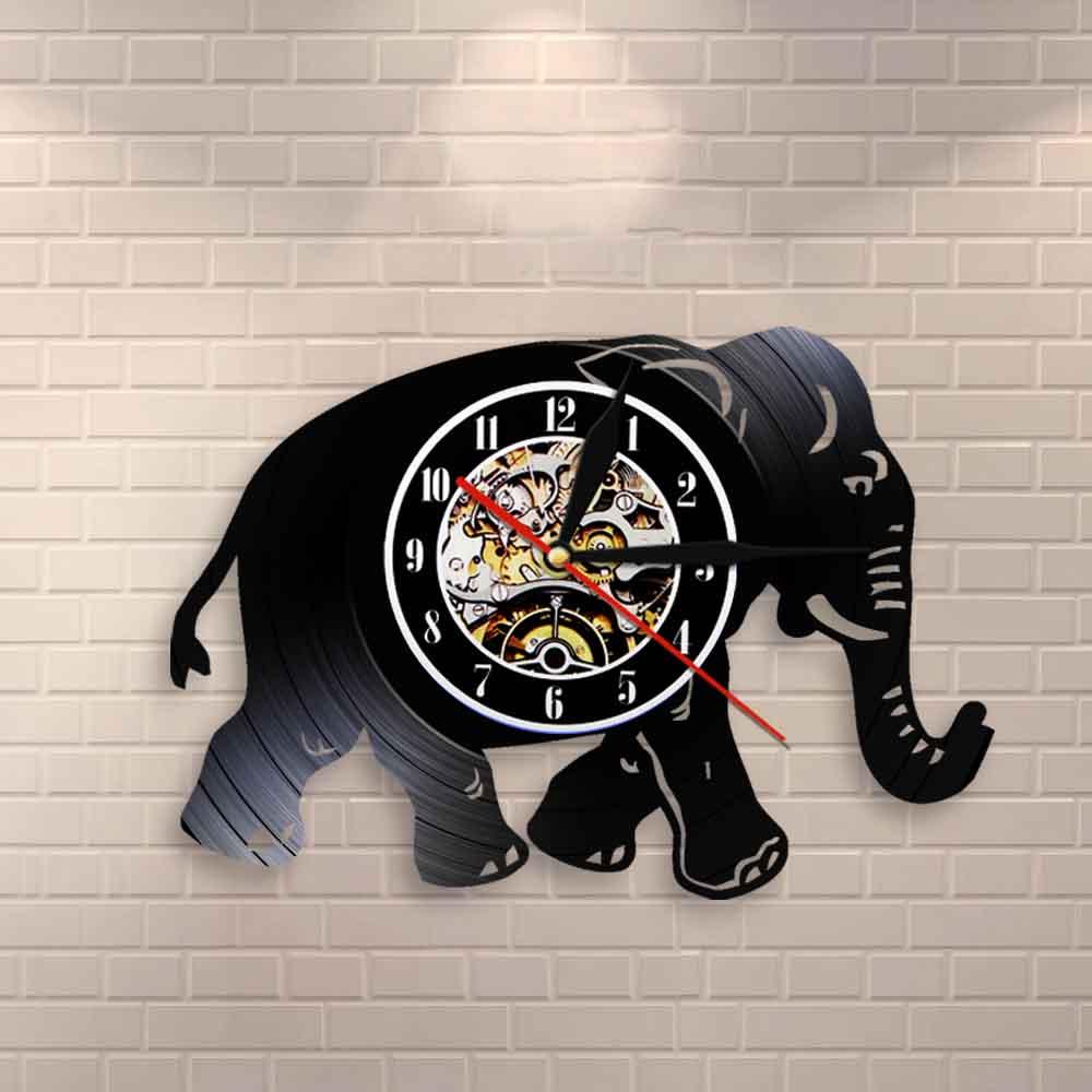 Walking Elephant Nursery Wall Clock Elephant Illustration Wall Art Safari African Animals Vintage Vinyl Record Clock Wall Watch