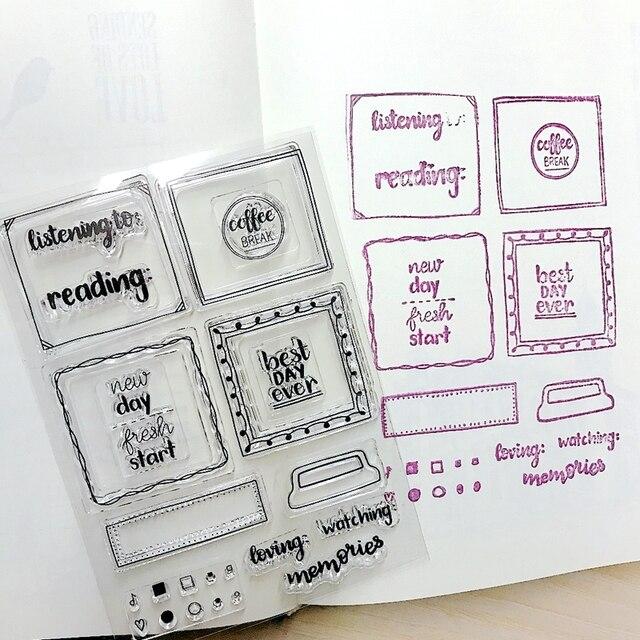 DIY Scrapbooking Clear Stamps Medium Frame Rubber Material Remark Sign Label Planbook Home Decoration Hobby Crafts Supplier