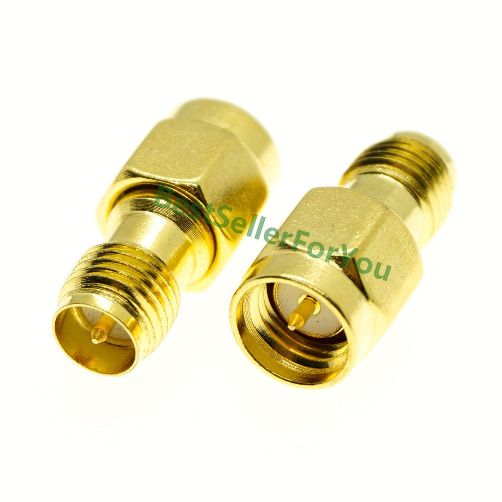 1Pc Adapter RP-SMA Male Jack To RP-SMA Female Connector Straight Gold Plating SS