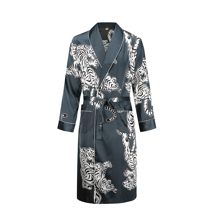 Men Bathrobe Men Silky Satin Tiger Print Pajamas Lingerie Robe Mens Summer Robes  Male Senior Satin Sleepwear Loose Homewear