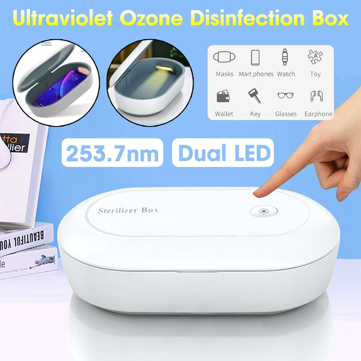 Portable UV Sterilizer Box Phone Mask Cleaner Personal Sanitizer Disinfection Cabinet UV Sterilizer Lamp Wireless Charging