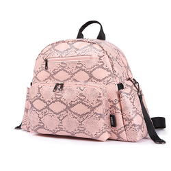 Diaper Backpack for Mothers Waterproof Multi-function Stroller with Straps Pink Snake Print Stylish Diaper Bag for Baby Travel