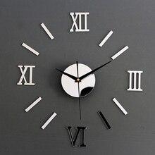 цена на 2020 3D Roman Numerals Frameless Large Acrylic Mirror Surface 3D DIY Wall Clock Home Office School Wall Decor Clock Stickers