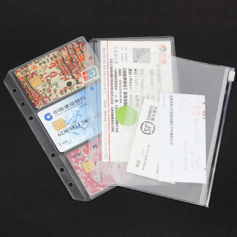 หลวมใบ PVC กระเป๋าสติกเกอร์การ์ด Organizer กระเป๋า FLAP A5 A6 SPIRAL สมุดบันทึก Binder FILLER