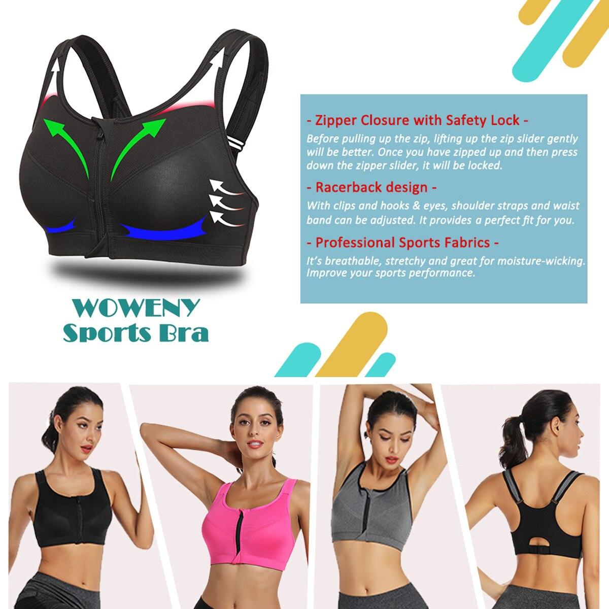 Women/'s Zip Front Sports Bra Push Up Racerback High Impact Wirefree Gym Bra UK