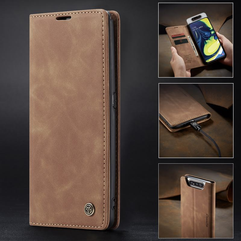 Flip Magnetic Matte Leather Wallet Card Stand Samsung Galaxy Cover