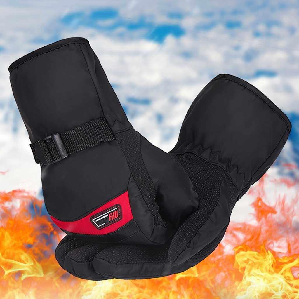 Erkekler kış termal eldiven Antiskid aşınmaya dayanıklı binicilik kayak eldivenleri açık motosiklet sürme rüzgar geçirmez kalınlaşmak kayak eldivenleri