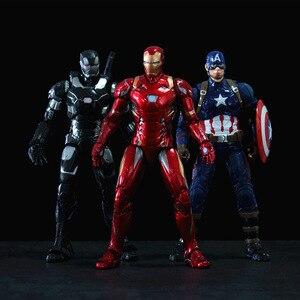 Disney Marvel фигурки игрушки 17 см Мстители Бесконечность война Человек-паук Капитан Америка Железный человек танос куклы Халка в подарочной кор...